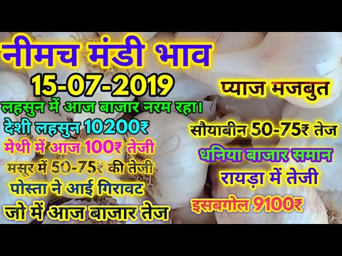 नीमच मंडी के आज के सभी जिंसों के 15-07-2019 भाव एवं आवक|| Neemuch Mandi Bazar Bhav 15-07-2019