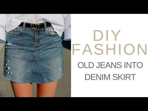 DIY FASHION: OLD JEANS INTO DENIM SKIRT