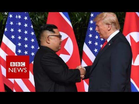 A historic moment: Trump and Kim shake hands- BBC News
