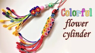 This Is The Most Colorful Macrame Keychain - The Flower Cylinder Macrame Tutorial - Móc Khóa Trụ Hoa