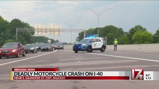 Deadly motorcycle crash closes I-40 west near S. Saunders in Raleigh