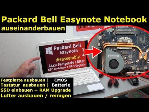 Packard Bell Easynote Notebook öffnen | HDD SSD einbauen CMOS Lüfter reinigen Tastatur - [4K Video]