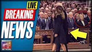 BREAKING: Watch What Hillary Was CAUGHT Doing After Trumps Sat Down Next To Her At Bush Funeral