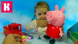 Свинка Пеппа гигант / Пожарная машина мисс Крольчихи / Обзор игрушек