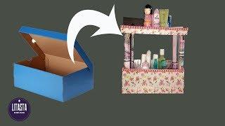 Ide Kreatif membuat Rak make - up dari kotak sepatu bekas | Creative DIY