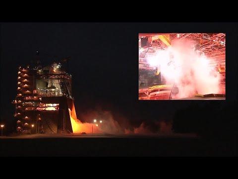 SLS RS-25 engine test video