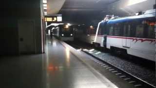 izmir turkey  einfahrt der metro in die station sirinyer in richtung aliaga hd