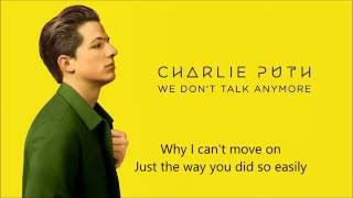 Charlie Puth   We Don't Talk Any More Ft. Selena Gomez (lyric Video) HQ Sound