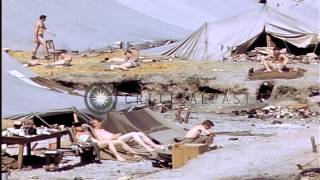 Liberated U.S.prisoners of war burn their former prison compound at Stalag 7A in ...HD Stock Footage