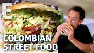 The Giant Arepa Burger Born Out Of Colombias Street Food Wars — Dining On A Dime
