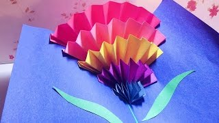 How To Make a CARNATION POP-UP CARD (origami)  立體康乃馨母親節卡片 || RuoxiMyLife