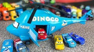 Cars Talking Dinoco Helicopter Transporter - Lightning mcqueen - Videos for kids - Играем в тачки