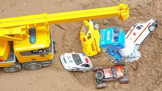 Excavator, Crane Truck, Tractor, Fire Truck, Garbage Trucks & Police Cars Toy Vehicles for Kids