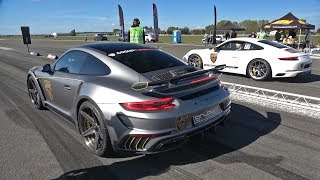 Porsche 991 Turbo GTT-900 Stinger GTR vs VW GOLF 7 R TTE610R Turbocharger