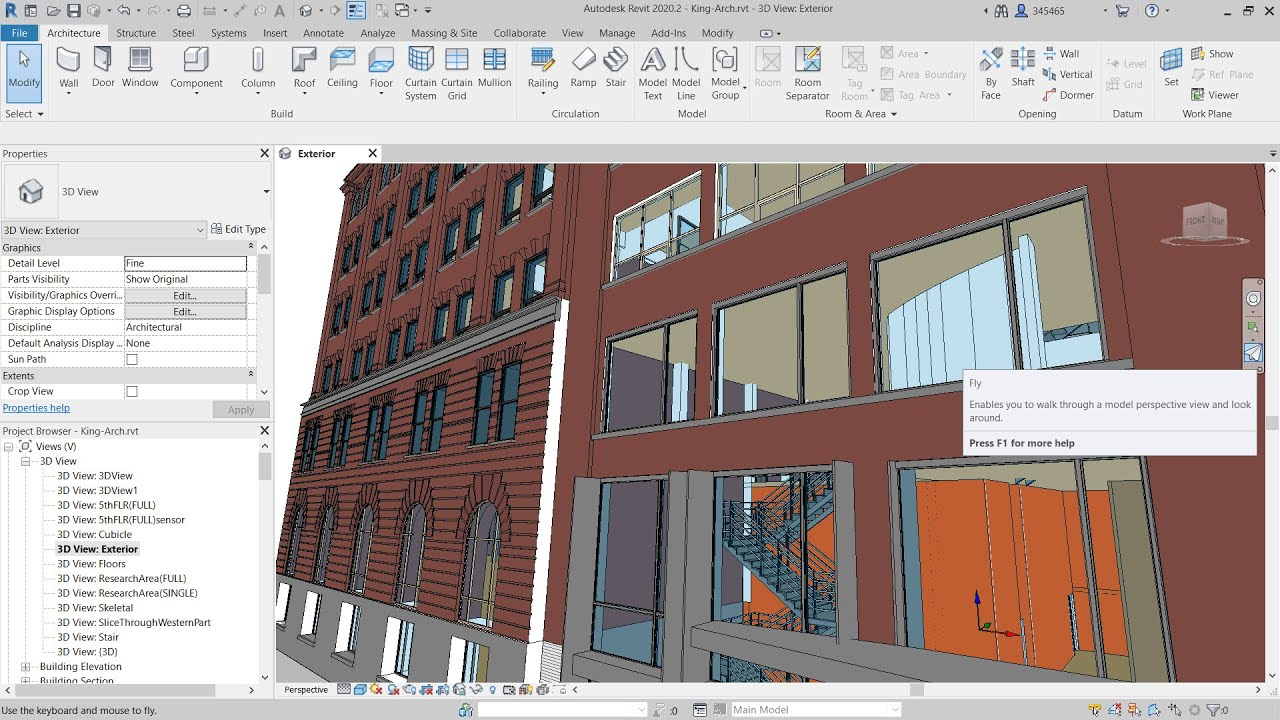Revit 2020.2: Fly Mode in Perspective Views