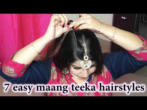 7 Easy Maang Teeka Hairstyles/ माँग टीका के लिए हेयर स्टाइल्स