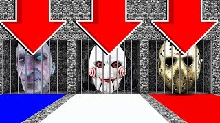 Minecraft :DO NOT OPEN THE WRONG PRISON (GRANDPA HORROR,JIGSAW,FRIDAY THE 13TH)(PS4/XboxOne/PE/MCPE: