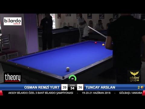 OSMAN REMZİ YURT & TUNCAY ARSLAN Bilardo Maçı - AKSOY BİLARDO 3 BANT TURNUVASI-2. Tur