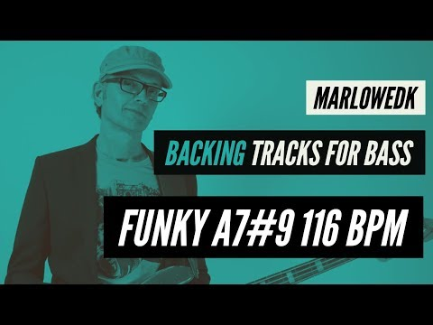 Funky Backing track for bass A7#9, 116 bpm