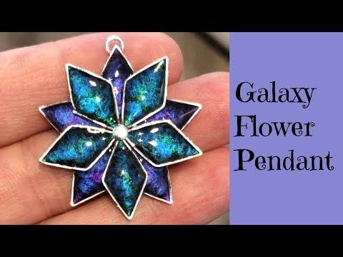 Galaxy Star Flower Pendant Earrings Unique Galactic Jewelry UV Resin Tutorial
