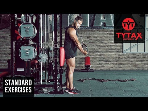 TYTAX® T1-X | Standing One Arm Cable Overhead Reverse Grip Triceps Pushdown