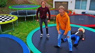 LAST TO LEAVE TRAMPOLINE RACE TRACK WINS! *EXTREME TRAMPOLINE PARK CHALLENGE*