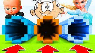 Minecraft: DO NOT CHOOSE THE WRONG TUNNEL(BOSSBABY,LOUDHOUSE,ELSA)(PS4/XboxOne/PE/MCPE)