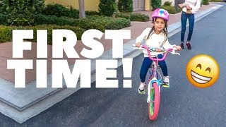 TEACHING AVA HOW TO RIDE A BIKE FOR THE FIRST TIME!! (NO TRAINING WHEELS!)