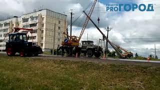 Замена столбов освещения в посёлке Октябрьский Михайловского район Рязанской области