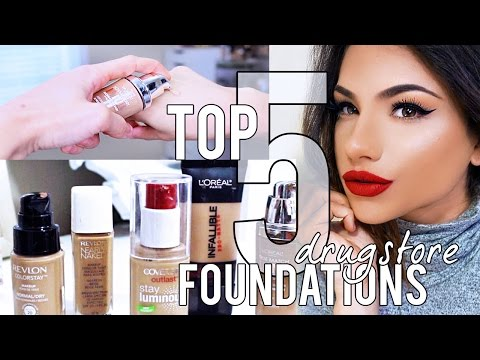 5 CHEAP DRUGSTORE FOUNDATIONS! My Top Picks + Swatches!