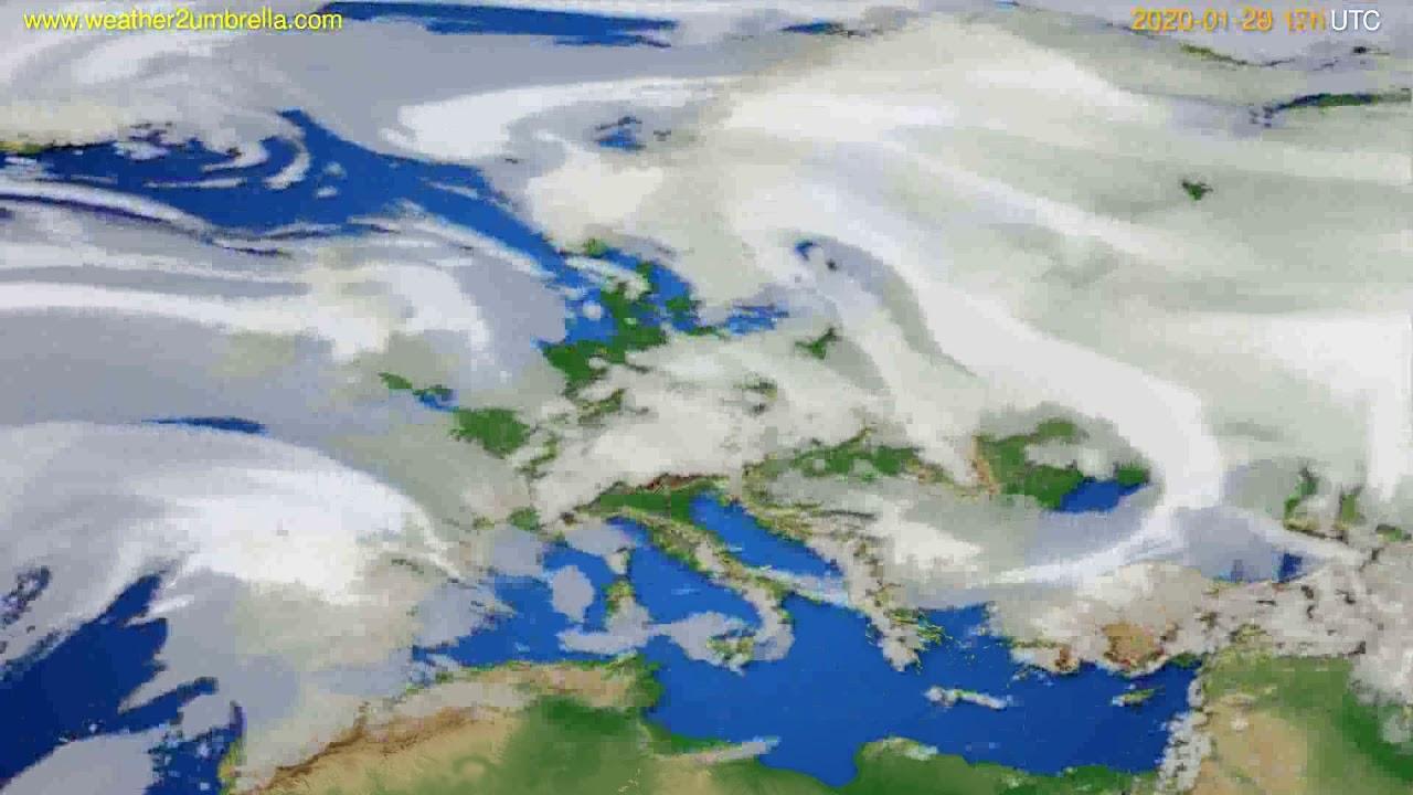 Cloud forecast Europe // modelrun: 12h UTC 2020-01-28