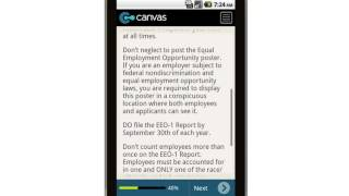 Canvas New Hire EEO-1 Data Sheet Tip Sheet Mobile App