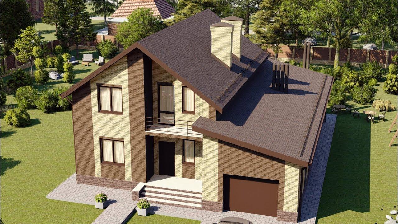 Проект современного двухэтажного дома из газобетонных блоков