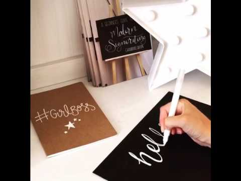 How to write on chalkboard with paint pen - simple typography - modern calligraphy