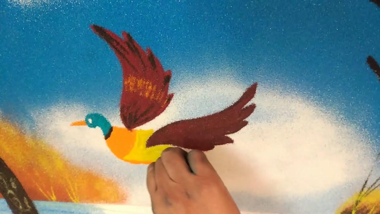 poster rangoli design of flying birds by sulochana
