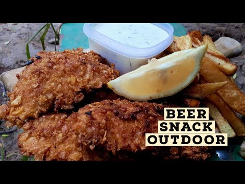 Breaded chicken flakes and french fries – Camp cooking recipe