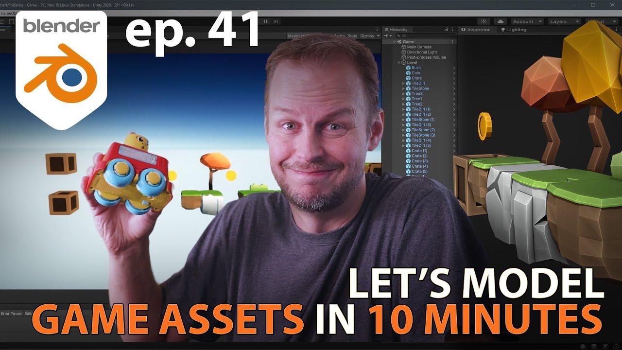 Let's Model GAME ASSETS (part 1) in 10 MINUTES - Blender 2.9 - Ep. 41