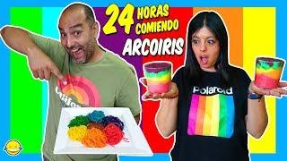 🌈 24 HORAS COMIENDO ARCOÍRIS | All Day Eating Rainbow | Momentos Divertidos