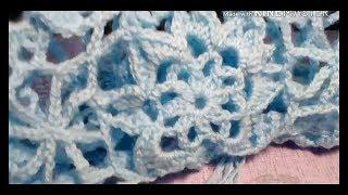 Урок 67.Часть 3. Голубое ажурное пончо.  Вязание крючком.