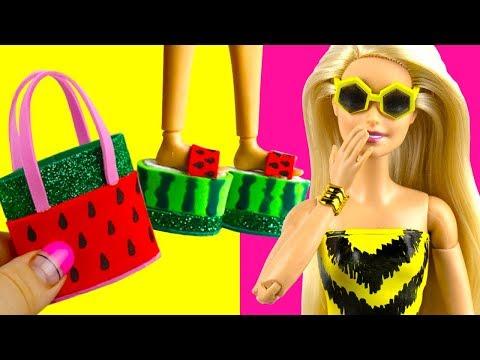 DIY Miniature Barbie Elsa Beach Crafts Umbrella, Swimsuits, Shoes, etc