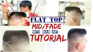 Haircut:::flat Top /mid Fade /with Hair Art /Tutorial Step By Step (jhun Panglao)