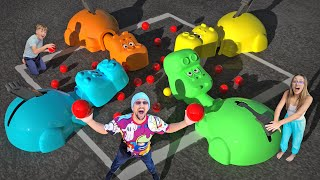 HUNGRY HIPPOS but it's Life Size!  (FV Family Massive Tournament Challenge)