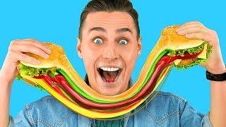 Съедобные лизуны против обычной еды! Челлендж – 7 идей