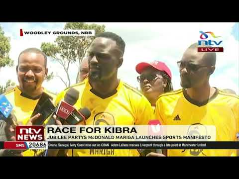 McDonald Mariga launches his sports manifesto at the Woodley grounds in Kibra