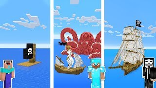 Minecraft NOOB vs PRO vs HACKER : PIRATE SHIP BASE CHALLENGE in minecraft / Animation