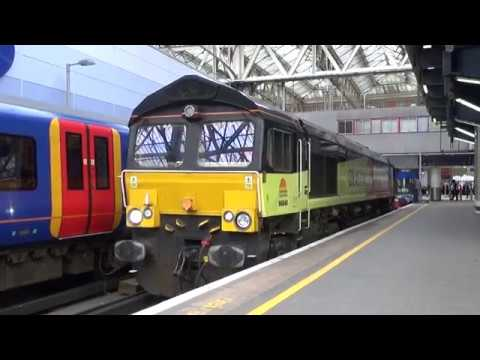Colas Rail 66848 departs London Waterloo with mounted track …