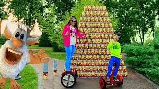 Den and Mom pretend play with Colored Cups! Funny Buba Ride on Segway for kids