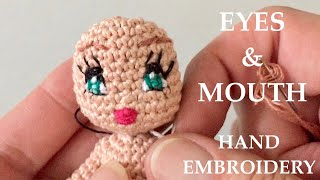 Eyes & Mouth Hand Embroidery For Crochet Amigurumi Doll