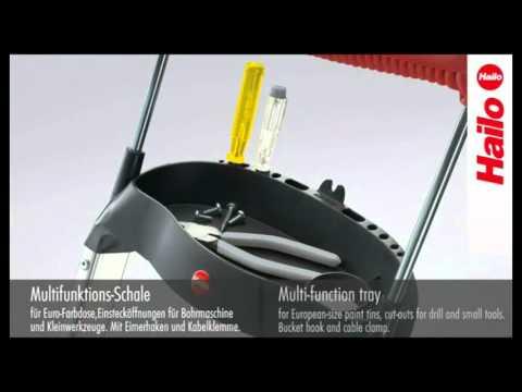 Leiter Hailo 8854 XXR, aus Aluminium Standhöhe 84cm, 4 Stufen