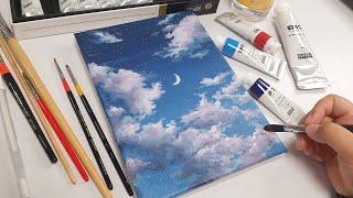 아크릴 물감으로 구름 그리기, Drawing Clouds With Acrylic Paint
